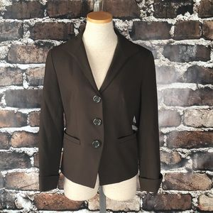 Lafayette 148 Blazer Wool Brown Buttons Stretch 4